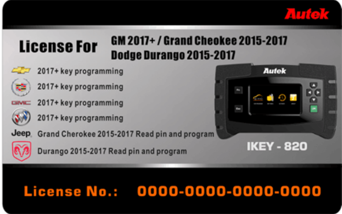 Licencja Autek IKEY 820 - GM 2017+, Grand Cheokee 2015 - 2017, Dodge Durango 2015 - 2017
